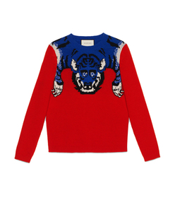 ShopBazaar Gucci Red Merino Tiger Sweater MAIN