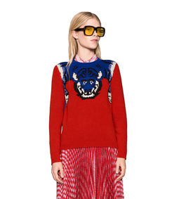 ShopBazaar Gucci Red Merino Tiger Sweater FRONT