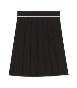 black pleated piping skirt