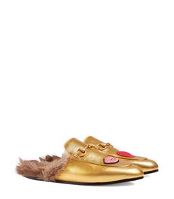 ShopBazaar Gucci 'Princetown' Lips & Fur Mule FRONT