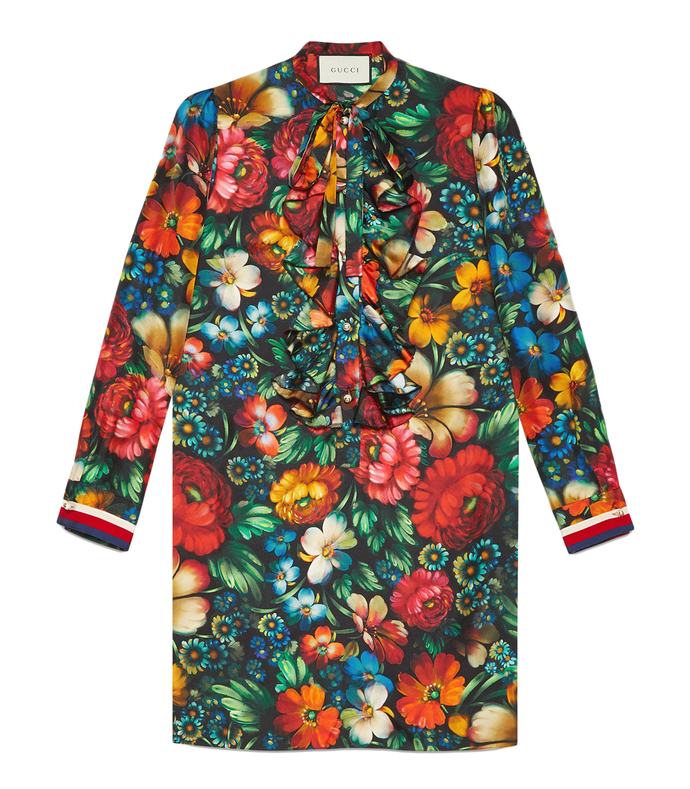multicolor floral print silk dress