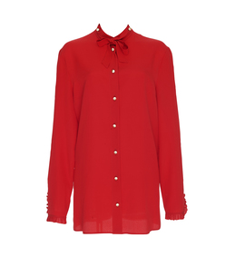 red silk button-down shirt