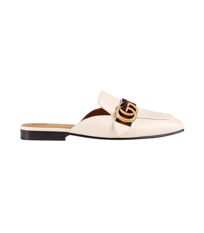 white leather 'gg' slide