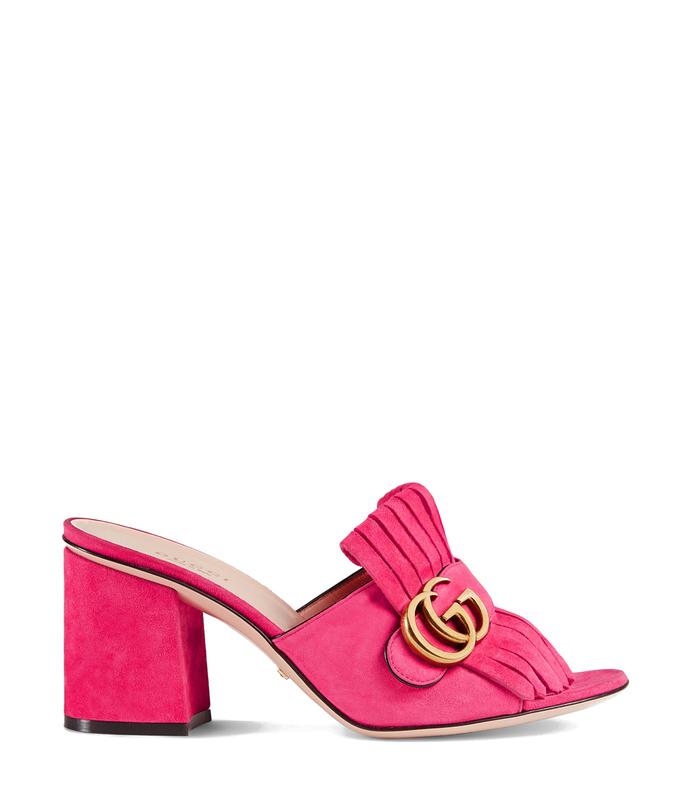 pink mid-heel slide mule