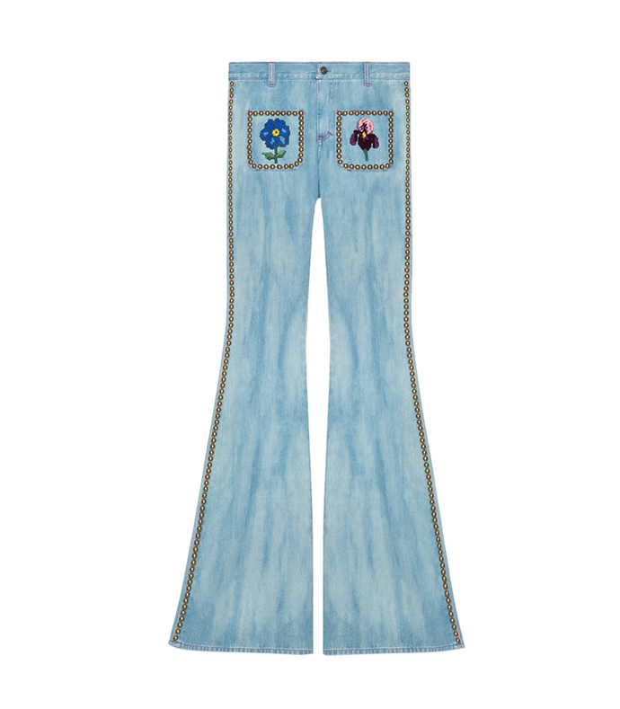 embroidered flower jean