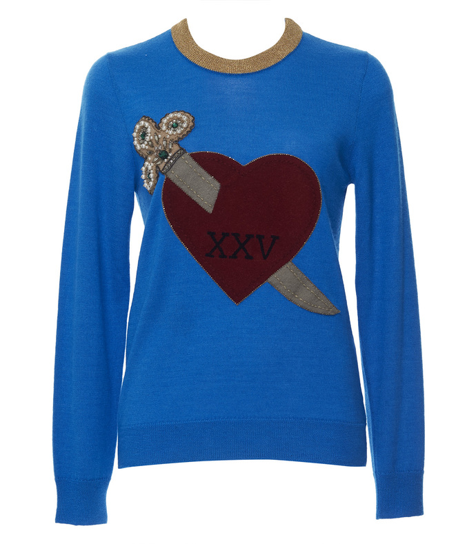 blue thin heart & arrow sweater