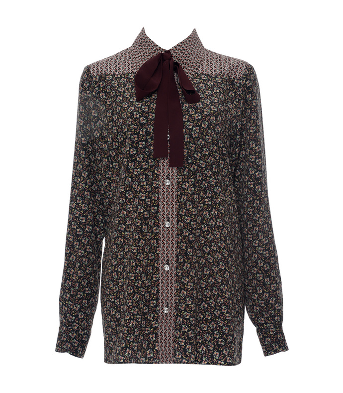 maroon autumn flower printed silk shirt
