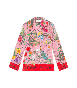 floral snake silk shirt