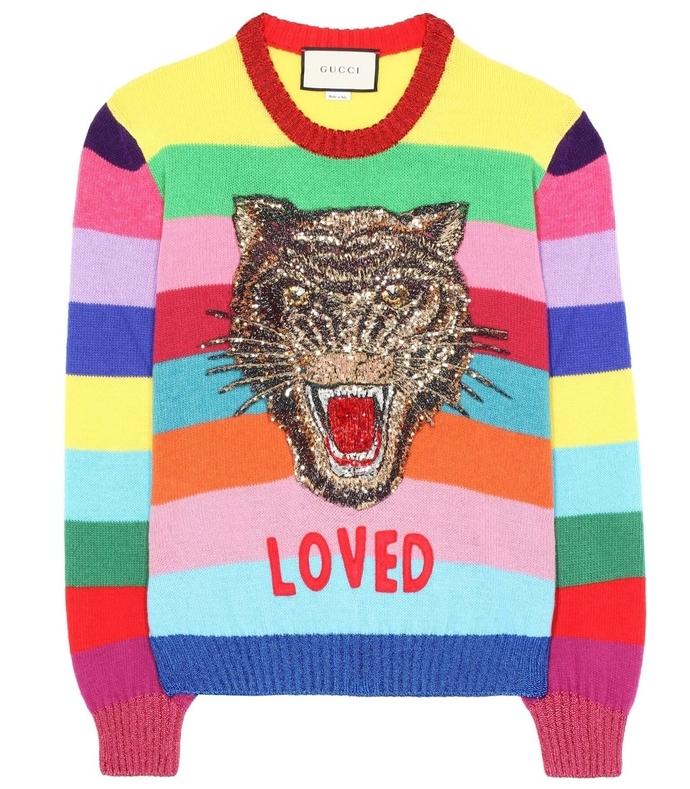 multicolor loved rainbow sweater