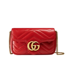 red gg mini marmont matelassé shoulder bag