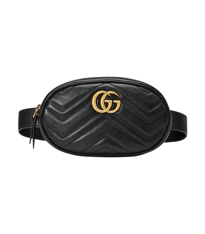 black leather 'gg' belt bag