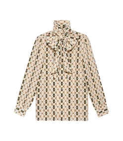 ivory multicolor silk shirt with web kisses print
