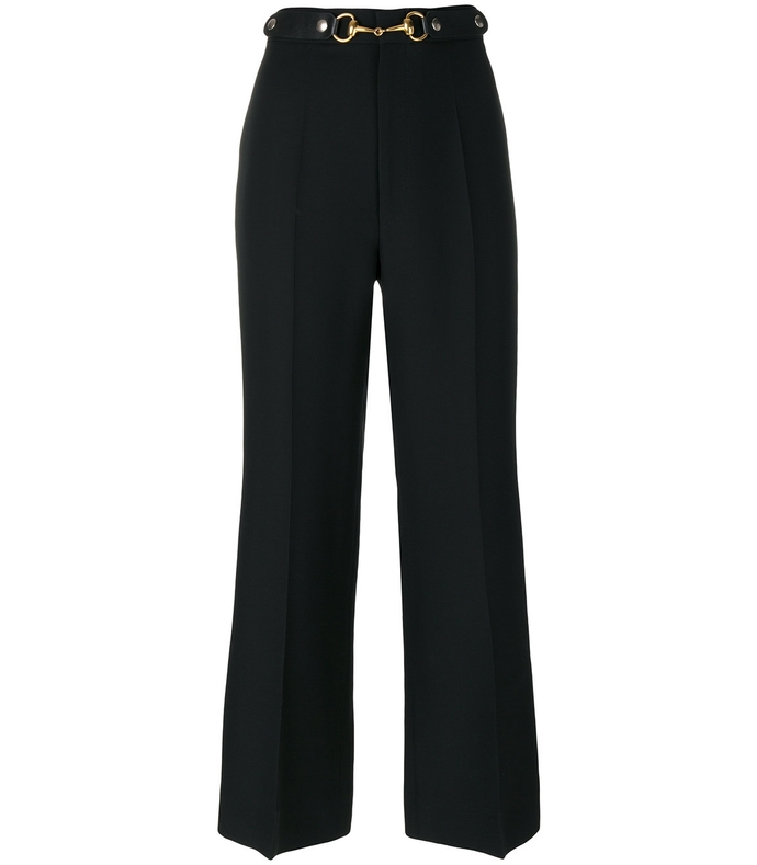 black horsebit cropped trousers