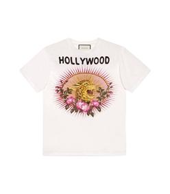 white leopard print cotton t-shirt