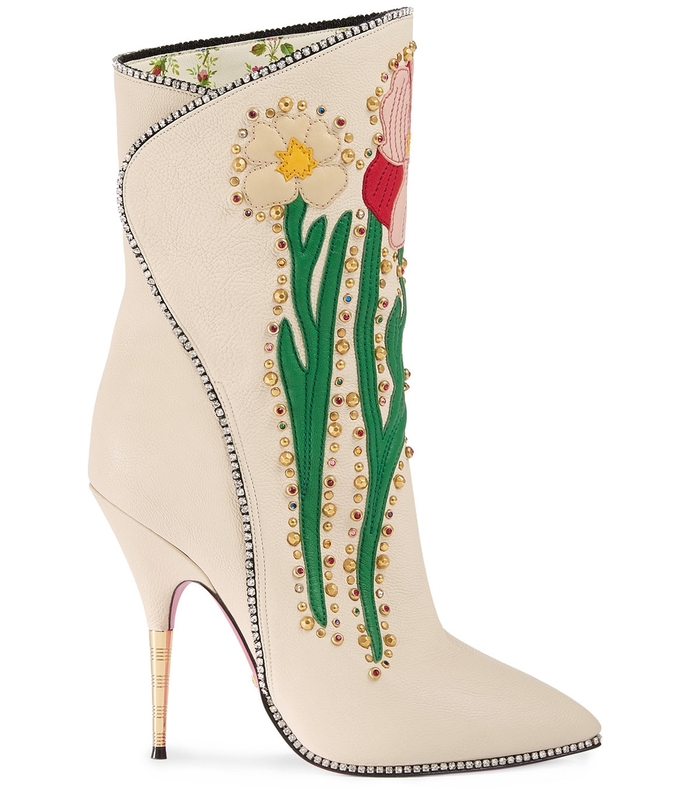 flower intarsia leather boot