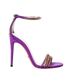 purple crystal embellished suede heel