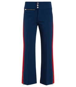 navy red contrast stripe slim leg trousers