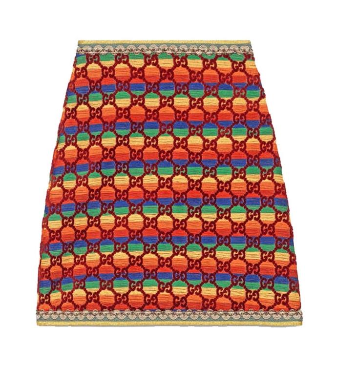 multicolor gg rainbow velvet skirt