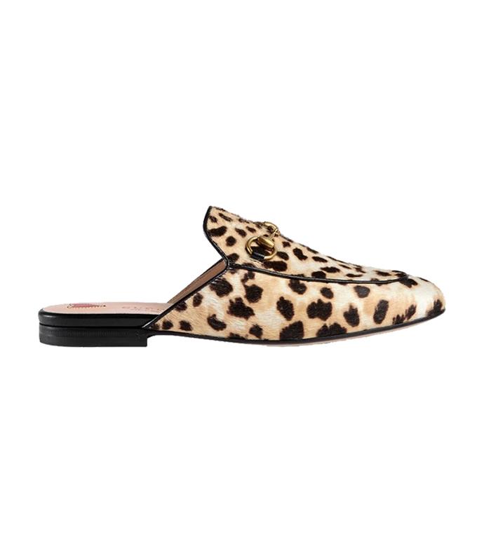 black/gold princetown leopard calf hair slipper
