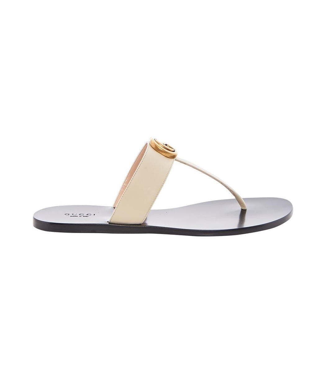Multicolor Leather Thong Sandal with Double G