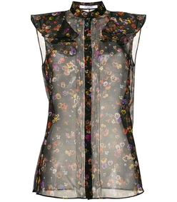 black multicolor sheer floral print shirt