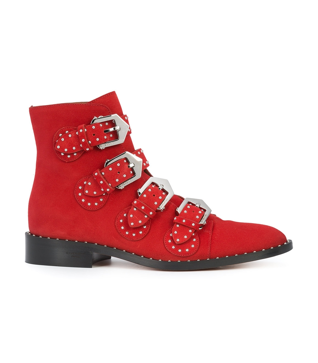 Givenchy Elegant Line Studded Suede Ankle Boots In Red
