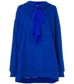 blue oversized hooded sweatshirt