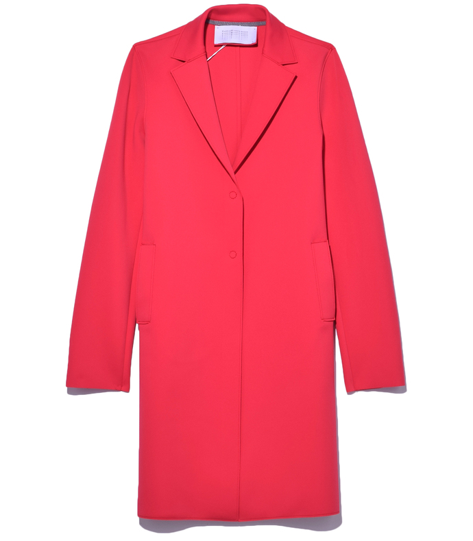 raspberry boxy coat