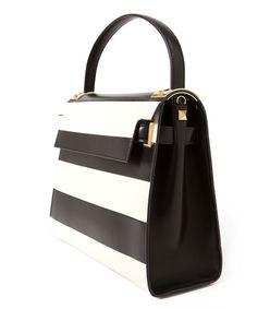 ShopBazaar Valentino Black & White Rockstud Striped Bag FRONT