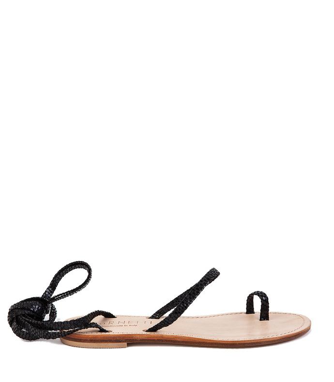 Alicudi Sandal In Black Python Embosed Leather icornetti-3048-7