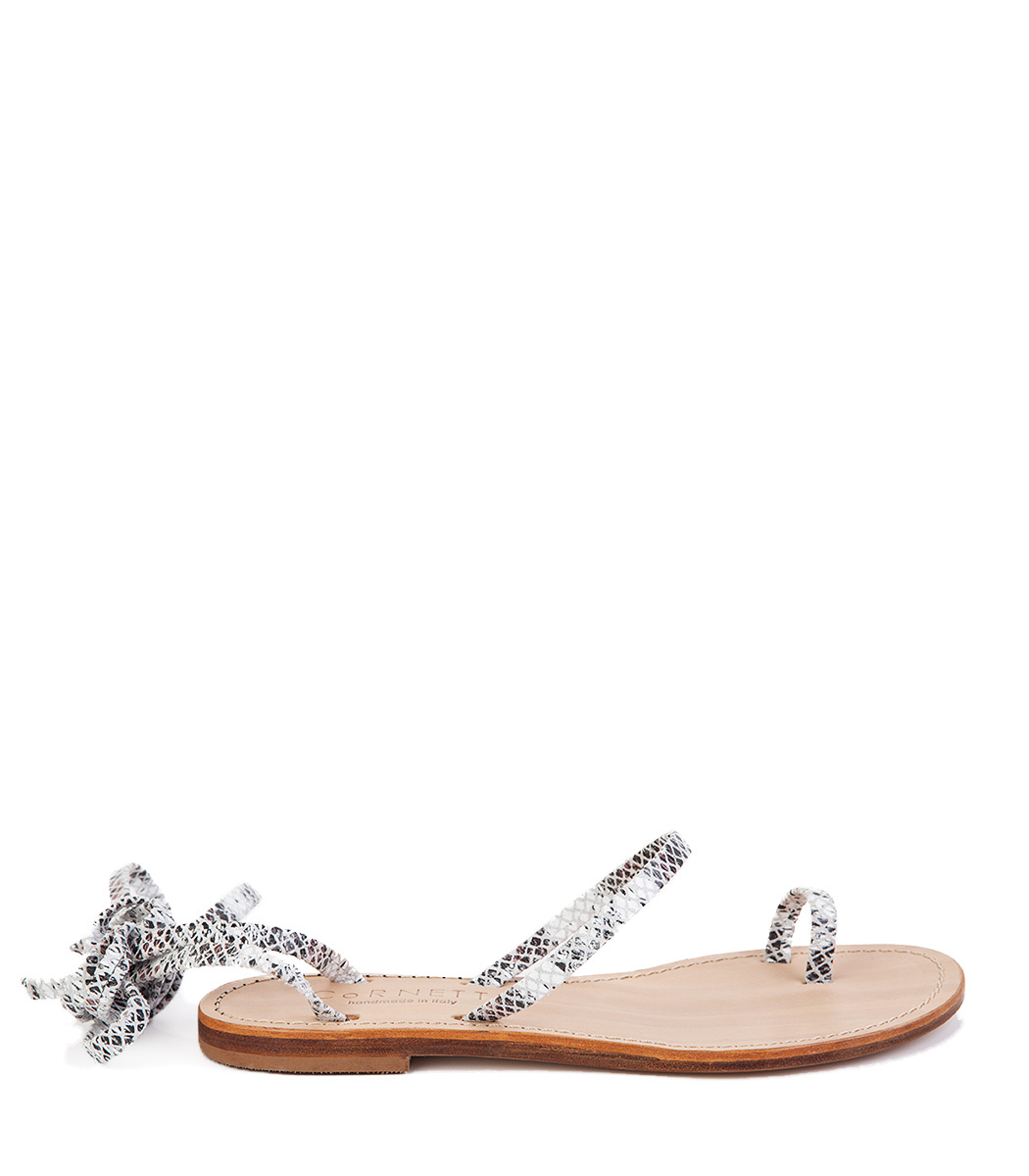 CORNETTI Alicudi Sandal In White Python Embosed Leather