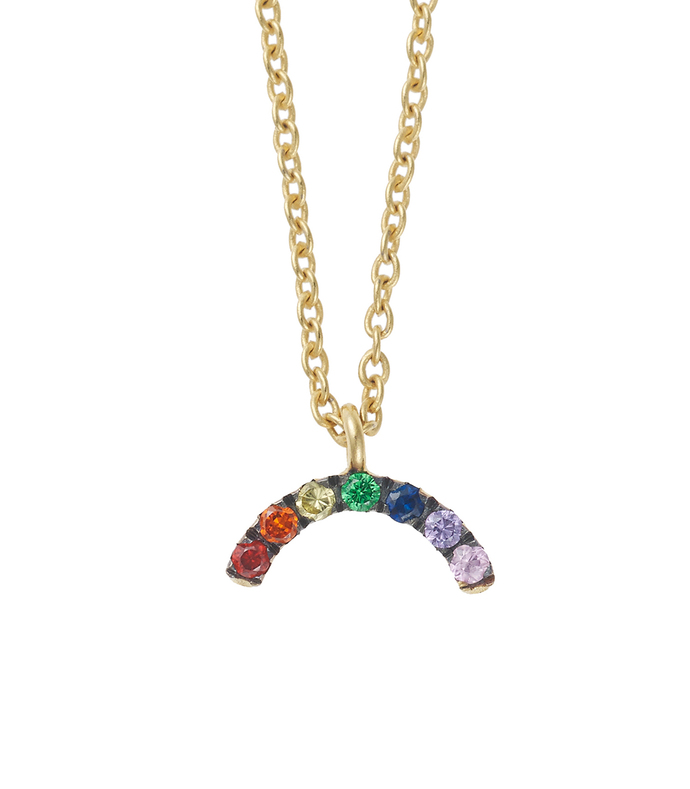 gold mini rainbow necklace