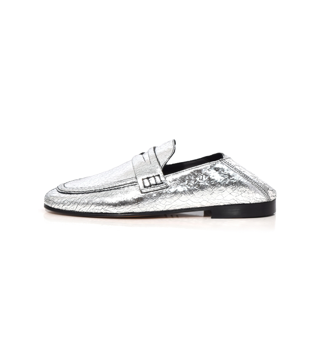 6b8373be2ea Isabel Marant Fezzy Metallic Cracked-Leather Collapsible-Heel Loafers In  Silver