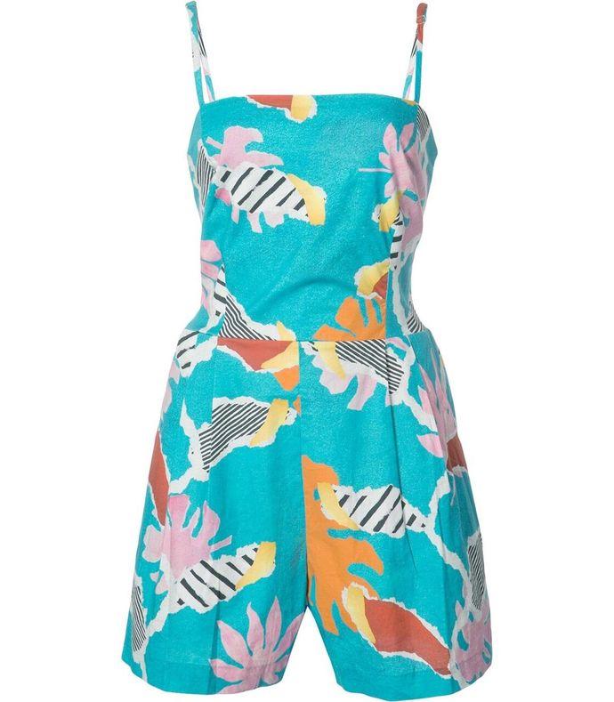 blue tropical jumpsuit