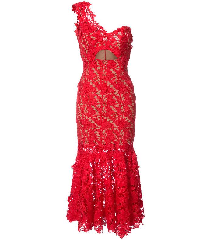 red cutout lace dress