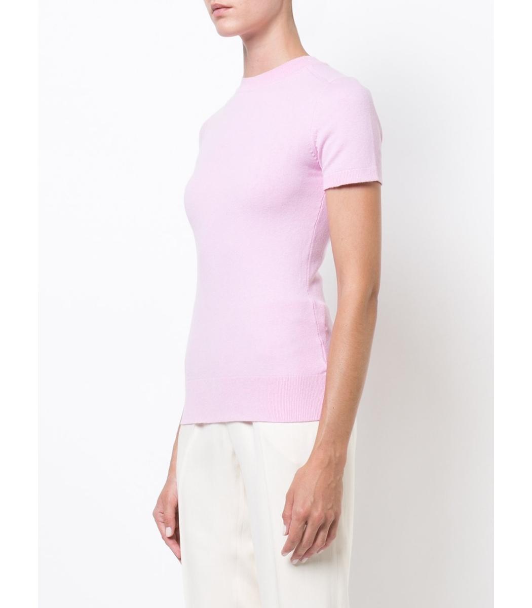 JoosTricot Short Sleeve Sweater - Pink Silk Sweater