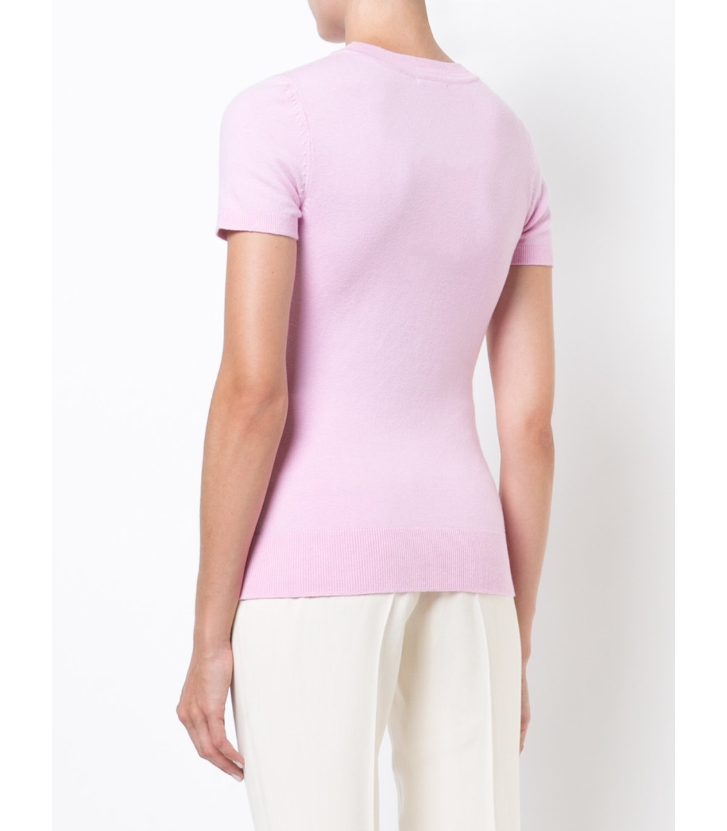 JoosTricot Short Sleeve Sweater - Pink Silk Sweater