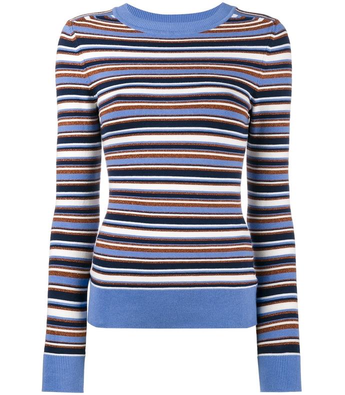 multicolor metallic striped sweater