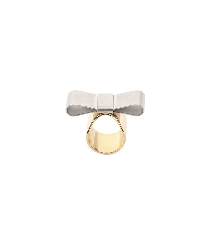two-tone bow ring