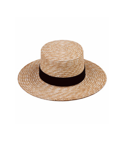 natural straw 'midnight' velour hat