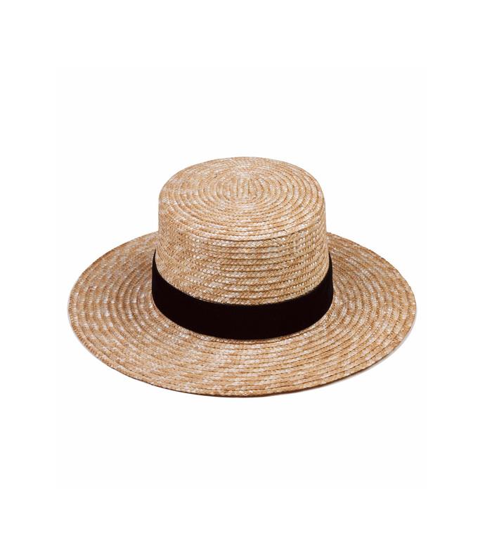 natural straw 'midnight' velour hat