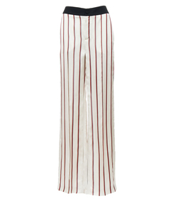 ivory & red stripe wide-leg pant