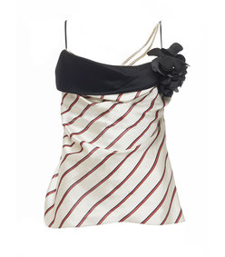 ivory & red striped top