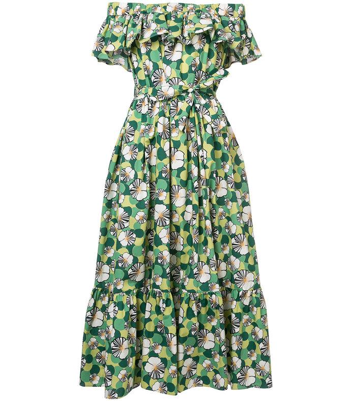 green multicolor floral shift off shoulder dress
