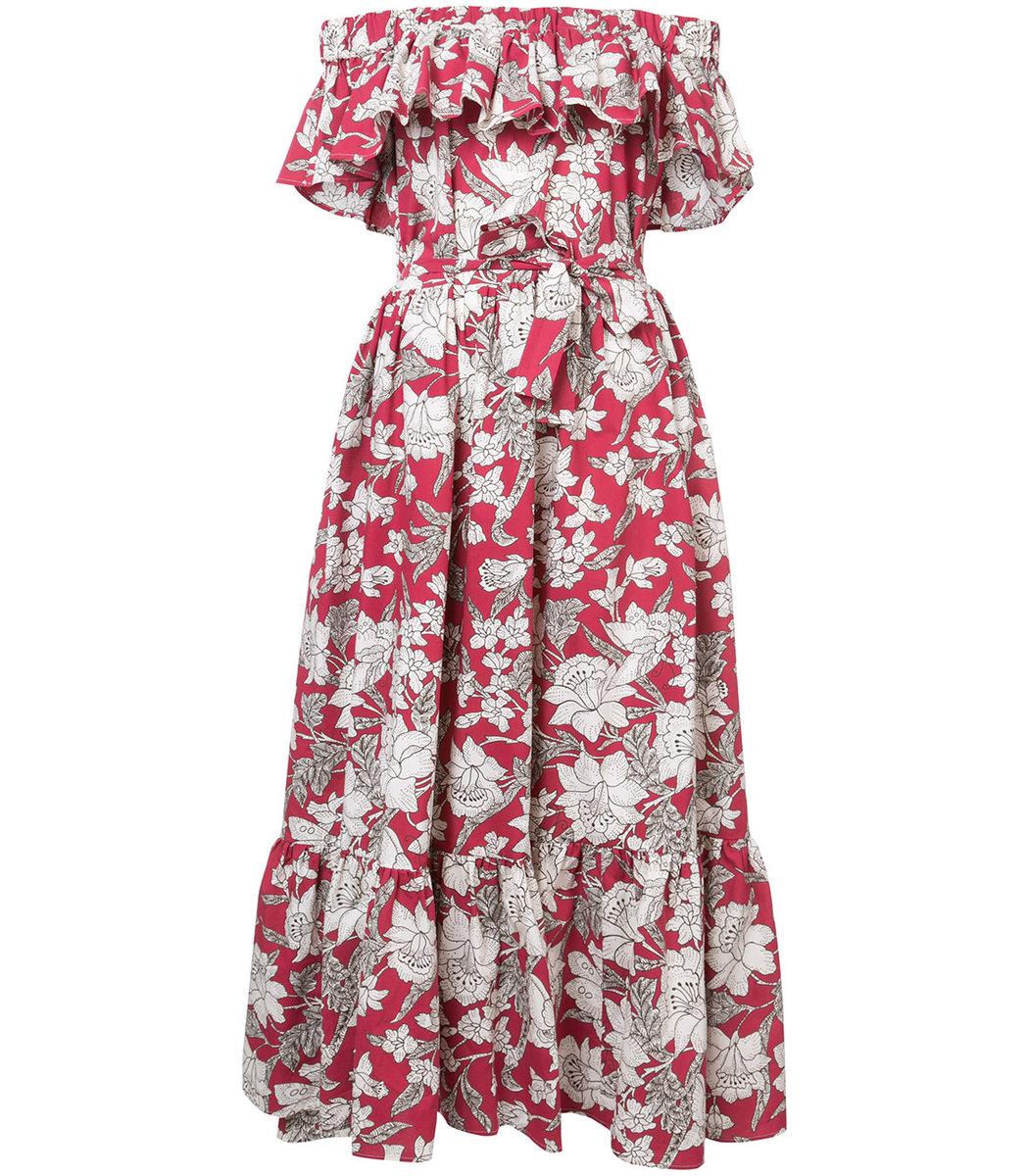 La Doublej  Floral Shift Off-Shoulder Dress