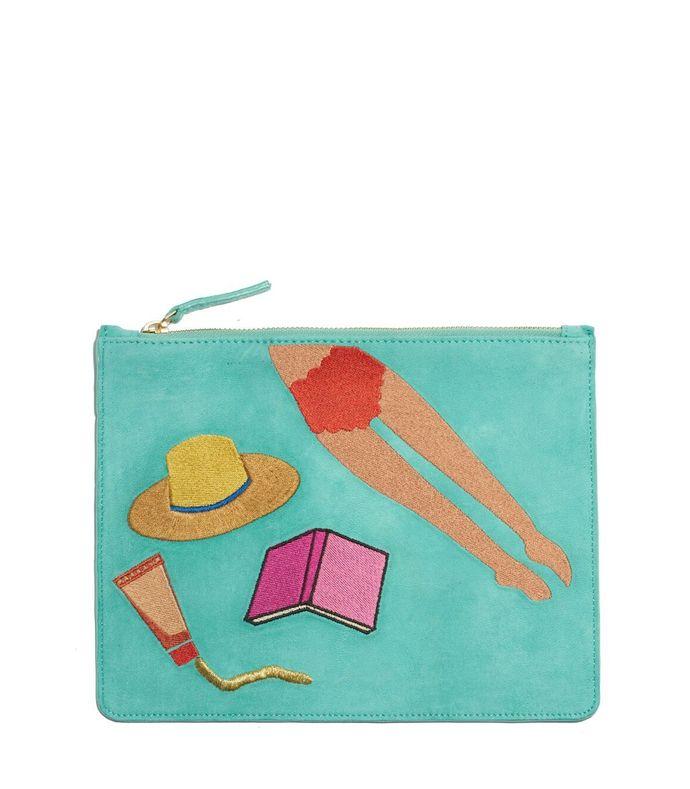 turquoise 'sunbather' zip pouch