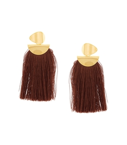 burgundy crater tassel earrings