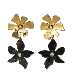 black/gold pearl flower charm dona earrings