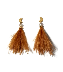 orange feather and pearl parker earrings