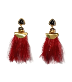 burgundy feather and fringe parrot earrings